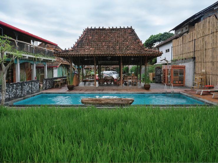 Kampung Lawasan Heritage Cottage Yogyakarta - Kolam renang di sebelah sawah