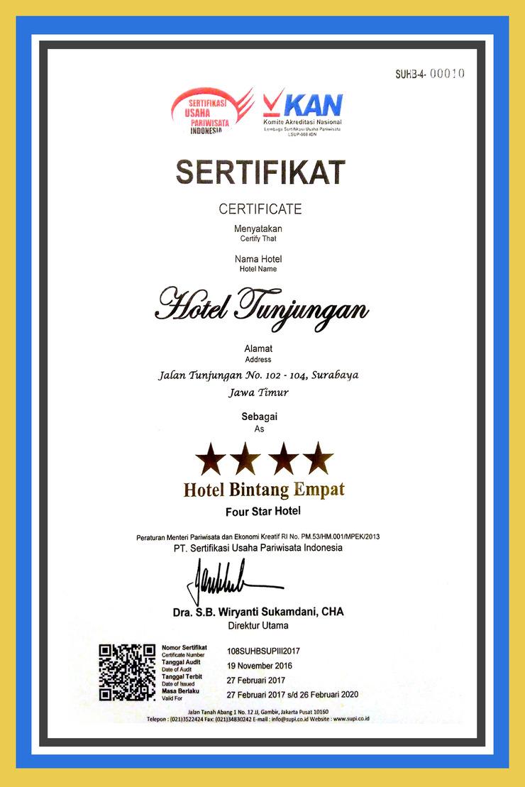 Hotel Tunjungan Surabaya - Sertifikat