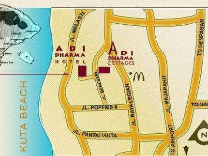 Adi Dharma Cottages Bali -  Peta