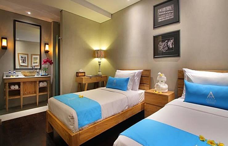 Agata Resort Bali - Kamar Twin di dua kamar tidur vila kolam renang laguna akses