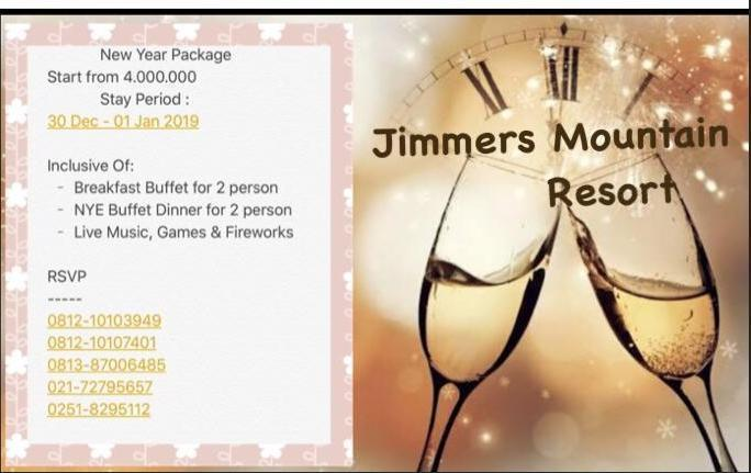 Jimmers Mountain Resort Bogor - New Year Package