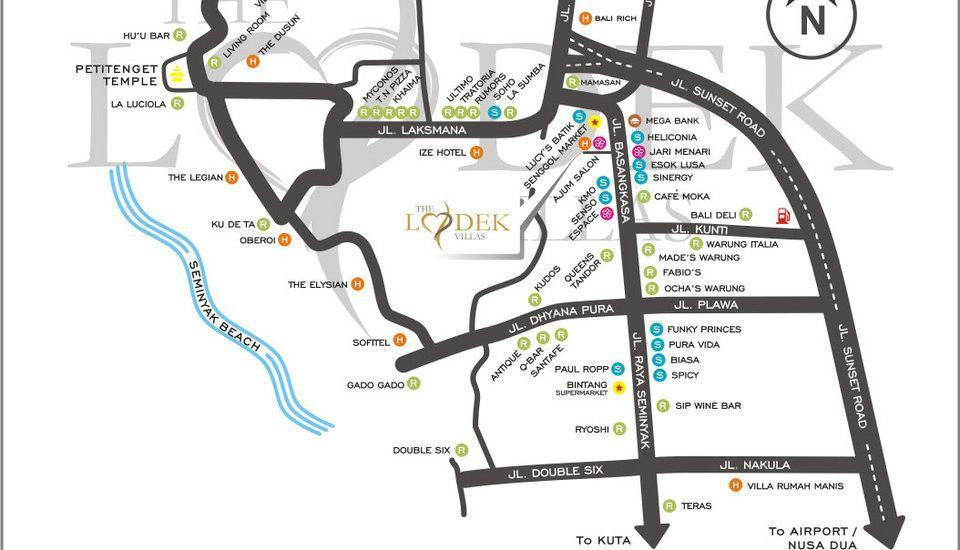 The Lodek Villas Bali - peta