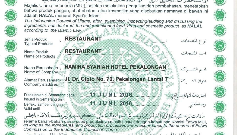 Hotel Namira Syariah Pekalongan - Sertifikat Halal