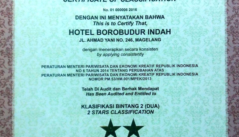Hotel Borobudur Indah Magelang - Sertifikat