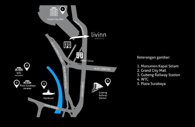 Livinn Hostel Gubeng Station Surabaya Surabaya - Peta