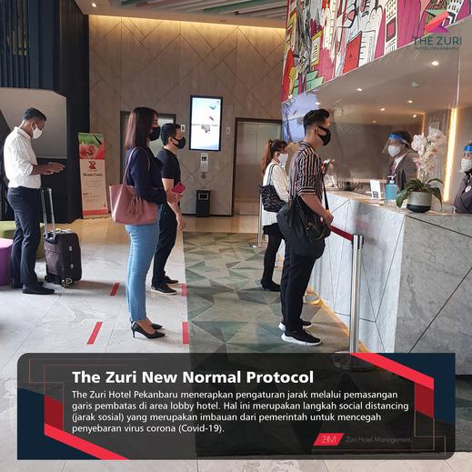 The Zuri Pekanbaru Pekanbaru - pengaturan jarak melalui pemasangan garis pembatas di area lobby