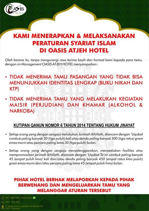 Oasis Atjeh Hotel Banda Aceh - peraturan Syariat islam