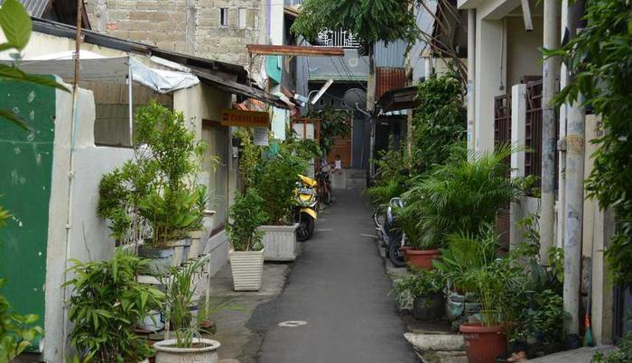 Rumah Betawi Kalipasir Jakarta - Kondisi jalan di depan rumah.