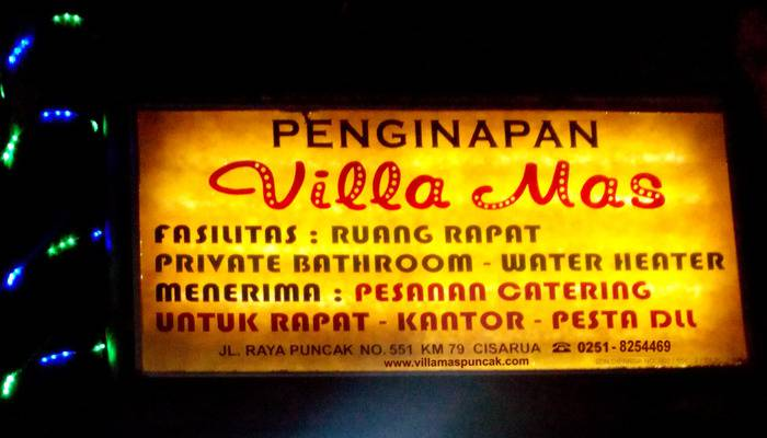 Villa Mas Inn Puncak - Billboard