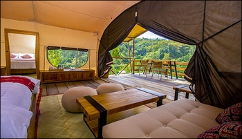Kapitoo Glamping and Cafe Toraja Utara - FamilyTent City View with Private Jacuzzi and Breakfast Regular Plan